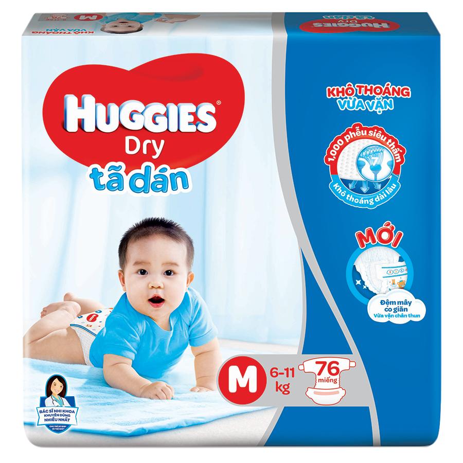 Tã Dán Huggies Dry Gói Cực Đại M76 (76 Miếng) - Bao Bì Mới