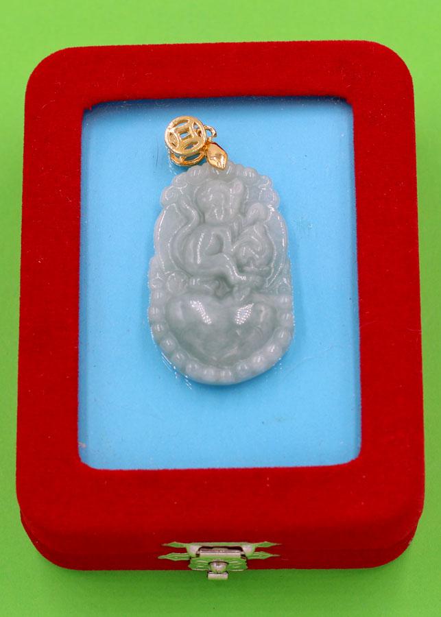 Mặt dây chuyền - khắc hình tuổi Thân - đá cẩm thạch MCGCTX7 - kèm hộp nhung