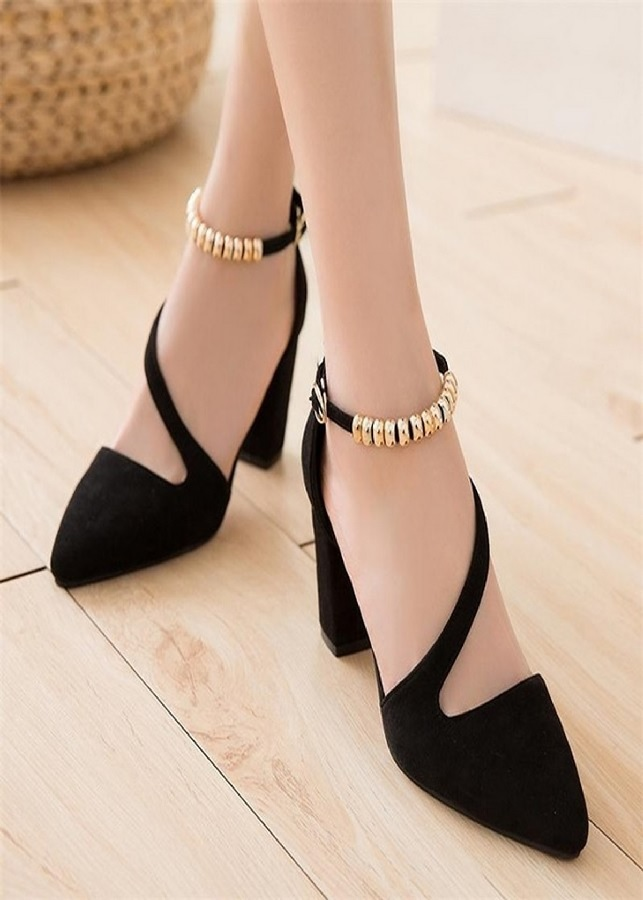 Giày gót vuông quai trang trí DS03