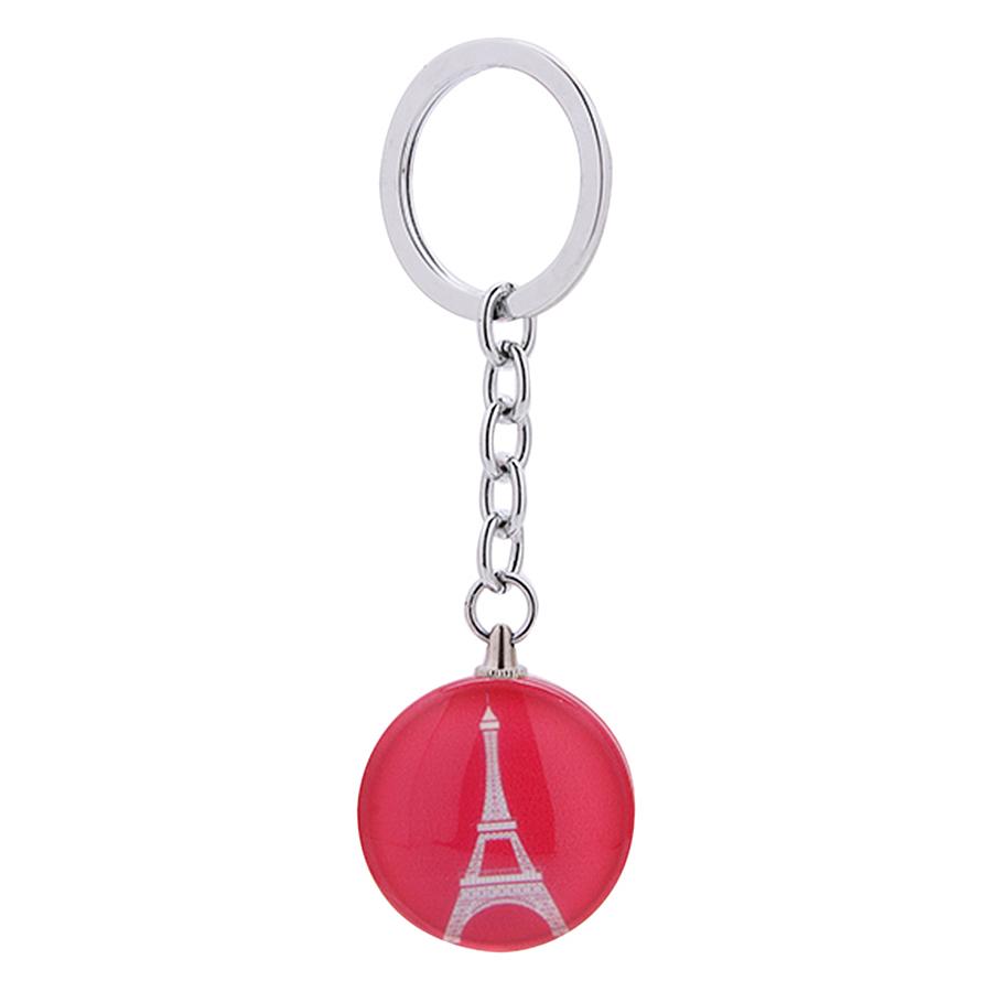 Móc Khóa Nhựa Tròn Hình Tháp Eiffel