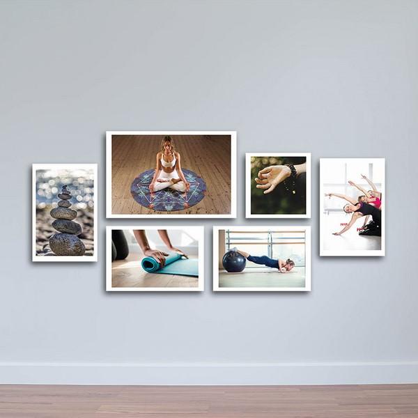Bộ 6 Tranh Canvas Có Viền Treo Tường Cho Phòng Yoga W1141
