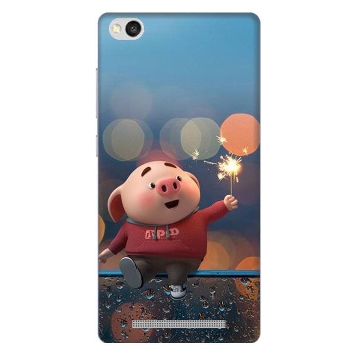 Ốp lưng nhựa cứng nhám dành cho Xiaomi Redmi 3 in hình Heo Pháo Bông