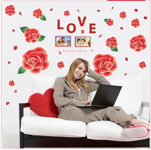 Decal dán tường hoa hồng tình yêu LALA SHOP DC2129 (80 x 120 cm)