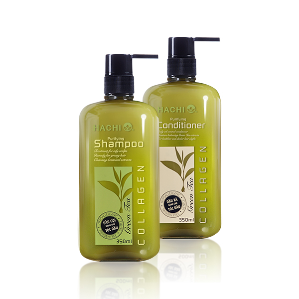 Bộ sản phẩm dầu gội - xả HACHI dành cho tóc dầu Greentea - Purifying