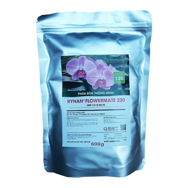 Phân Bón Thông Minh Rynan Flowermate 220 (Túi lọc 600g) - Giúp Phong Lan Ra Hoa, Trổ Đồng Loạt, Lâu Tàn
