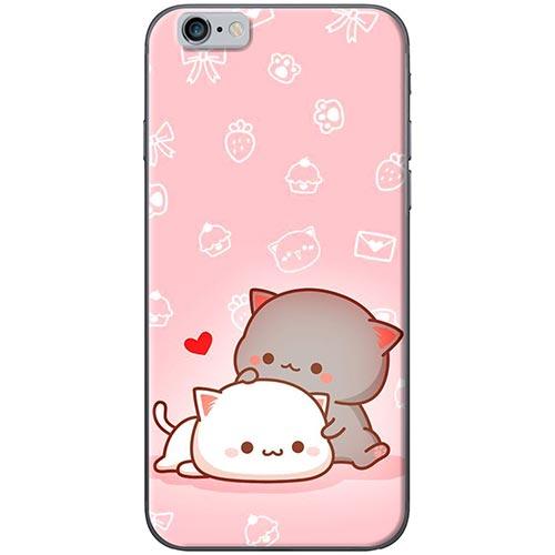 Ốp Lưng Hình Mèo Mập Nền Hồng Dành Cho iPhone 6 Plus / 6s Plus
