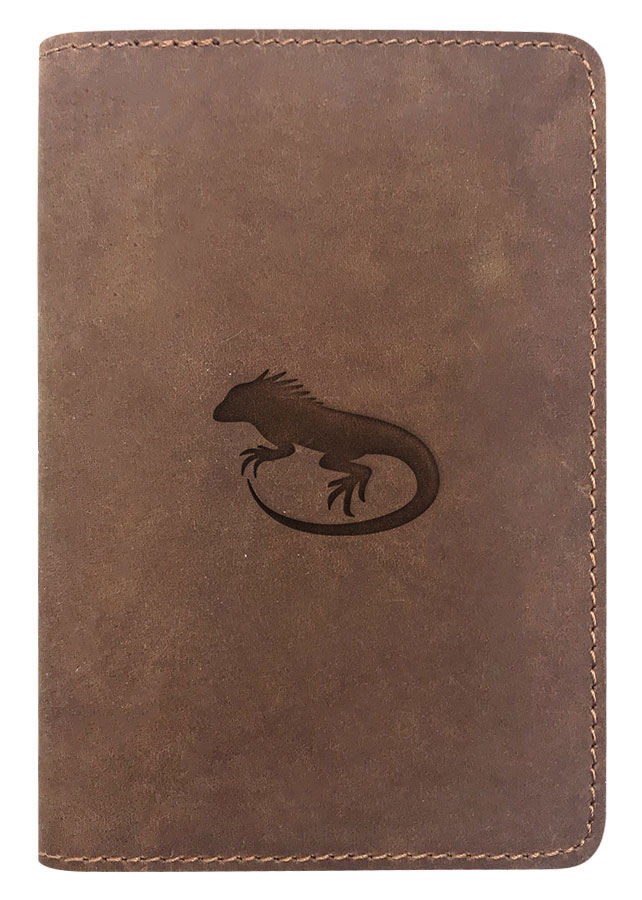 Passport Cover Bao Da Hộ Chiếu Da Sáp Khắc Hình Kỳ Nhông Iguana Silhouette (Brown)
