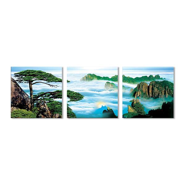 Bộ 3 Tranh Treo Tường Phong Cảnh Mây Và Núi W441