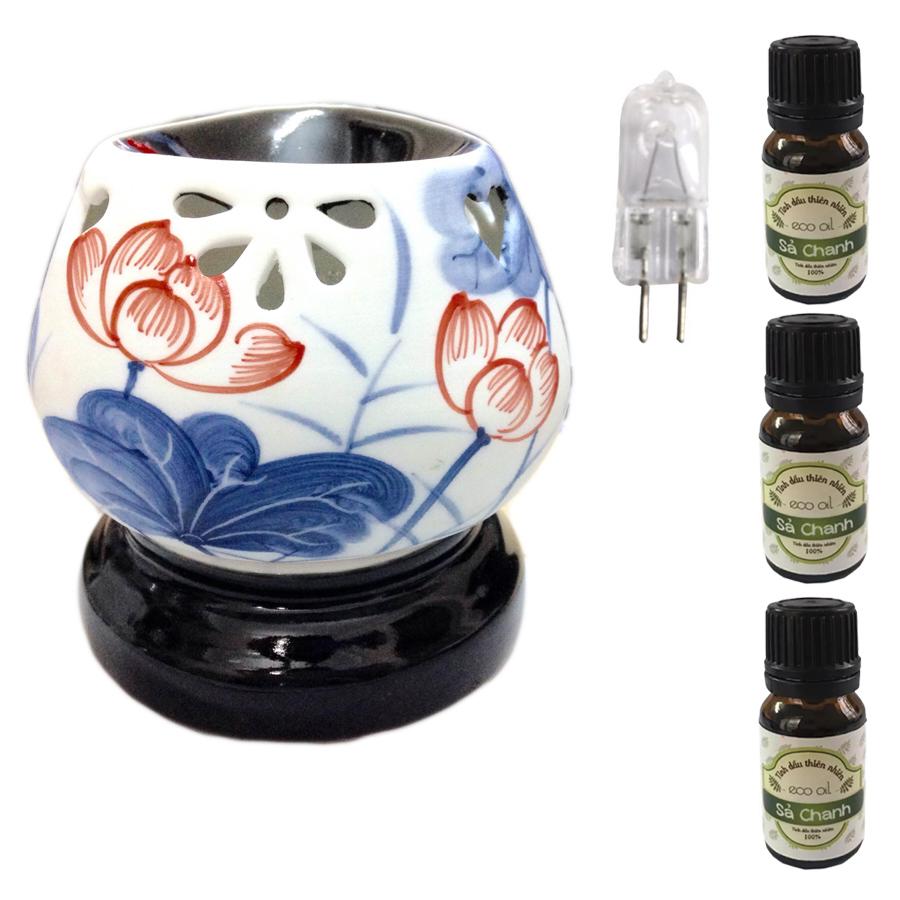 Đèn xông tinh dầu tam giác hoa sen xanh lá và 3 tinh dầu sả chanh Eco 10ml và 1 bóng đèn