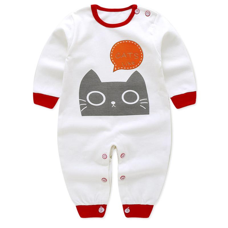 Bộ áo liền quần cho bé sơ sinh họa tiết mèo 80104