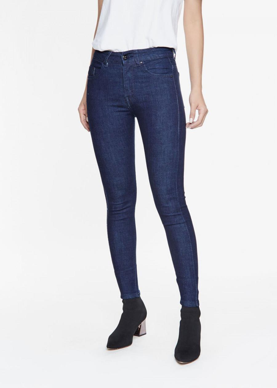 Quần jean nữ AAA JEANS lưng cao dáng skinny xanh pantone