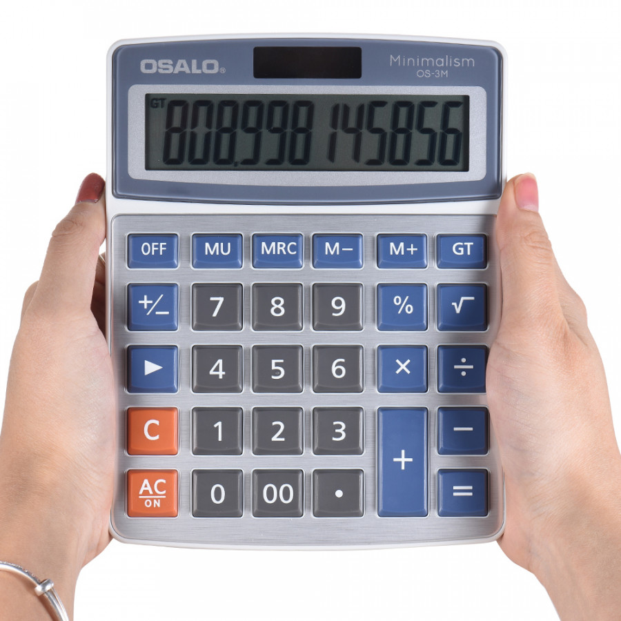 Standard Function Desktop Electronic Calculator 12 Digits Large Display Solar and Battery Dual Power Supply for School