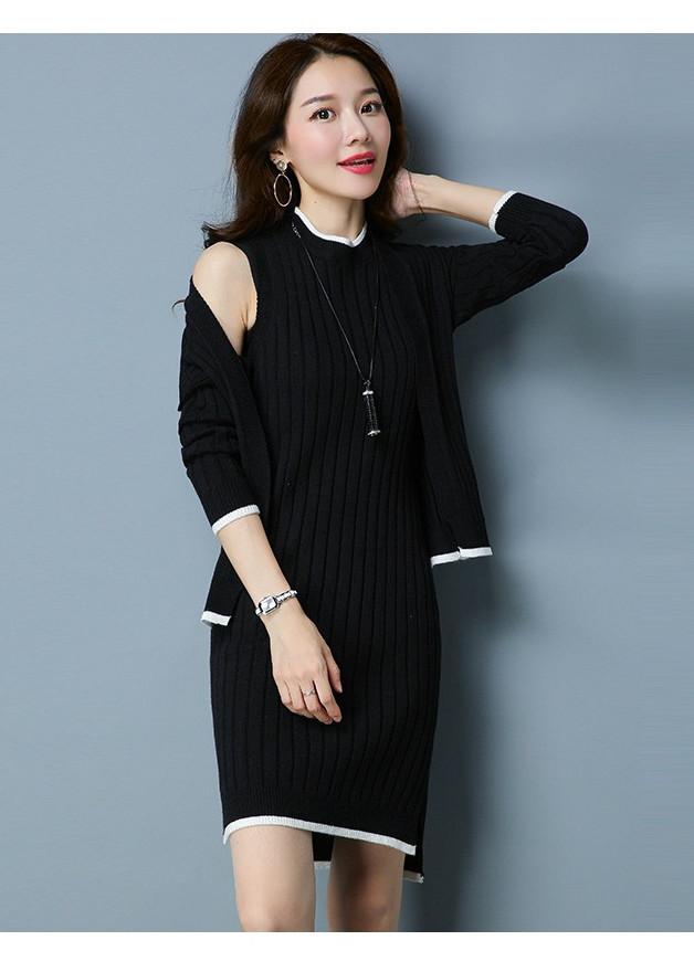 8684009466122 - Set áo khoác len cardigan kèm đầm len đẹp xinh, hàng nhập, chất đẹp