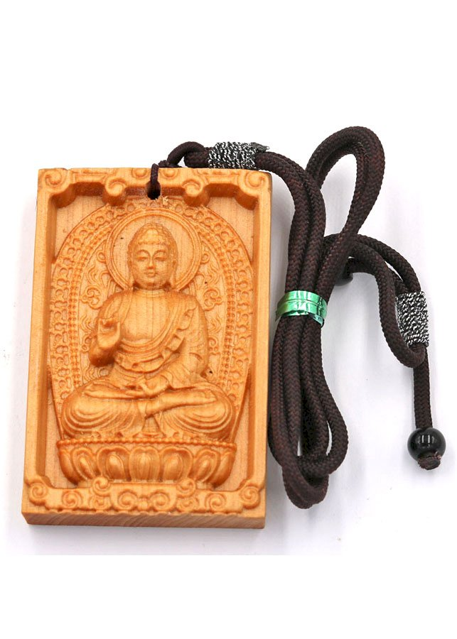 Vòng cổ gỗ ngọc am khắc hình Phật A Di Đà DMG7A