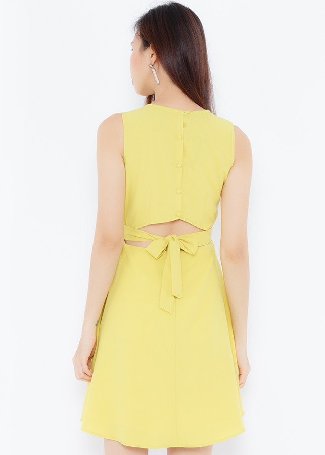 Đầm vàng chanh thân sau thắt nơ