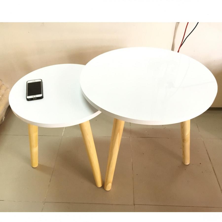 Cặp bàn tròn gỗ sofa phòng khách 50-40, bàn trà, bàn cafe, coffee, cà phê, bàn salon, sofa