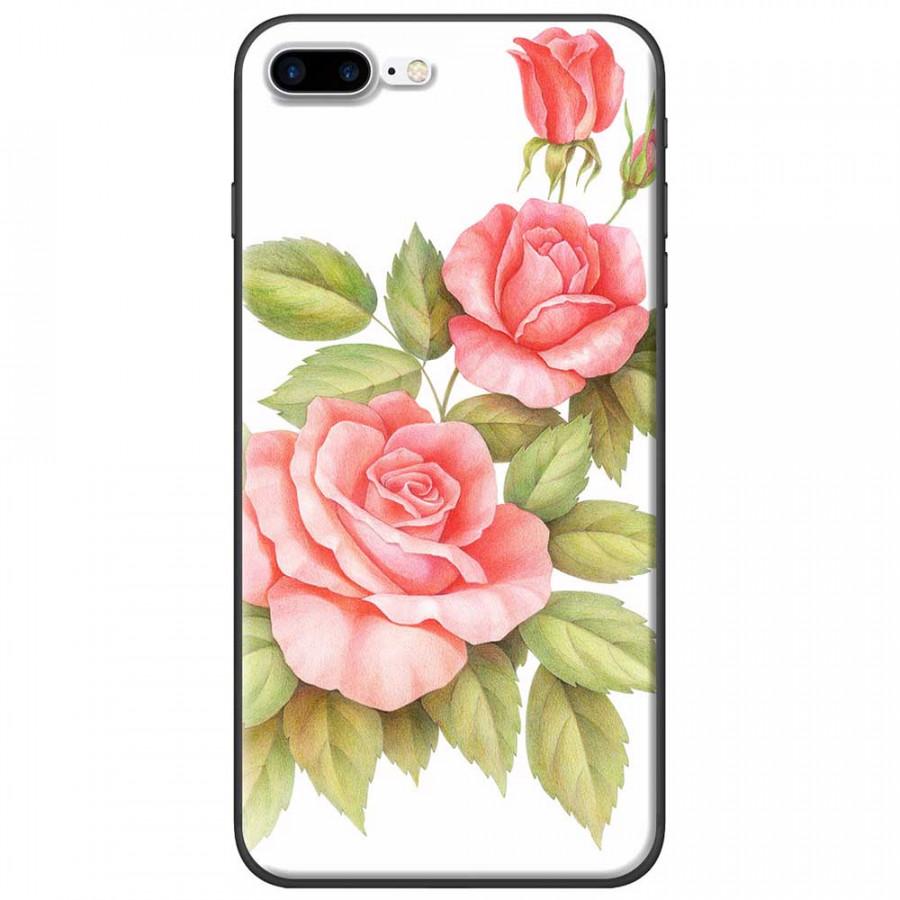 Ốp lưng dành cho iPhone 7 Plus mẫu Ba hoa hồng đỏ nền trắng