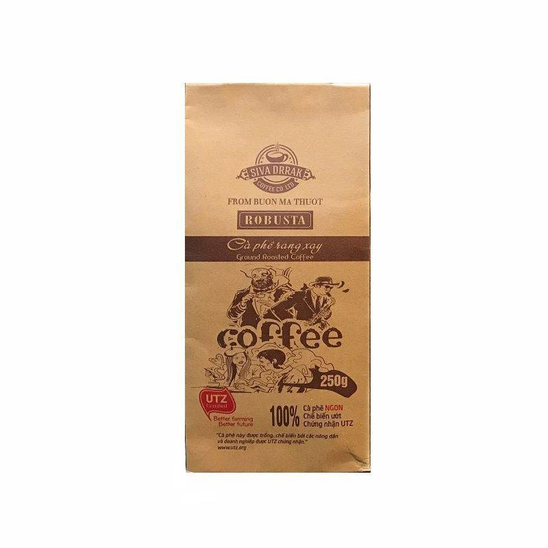 Cà phê rang xay Robusta SIVA DRRAK Gói 250g