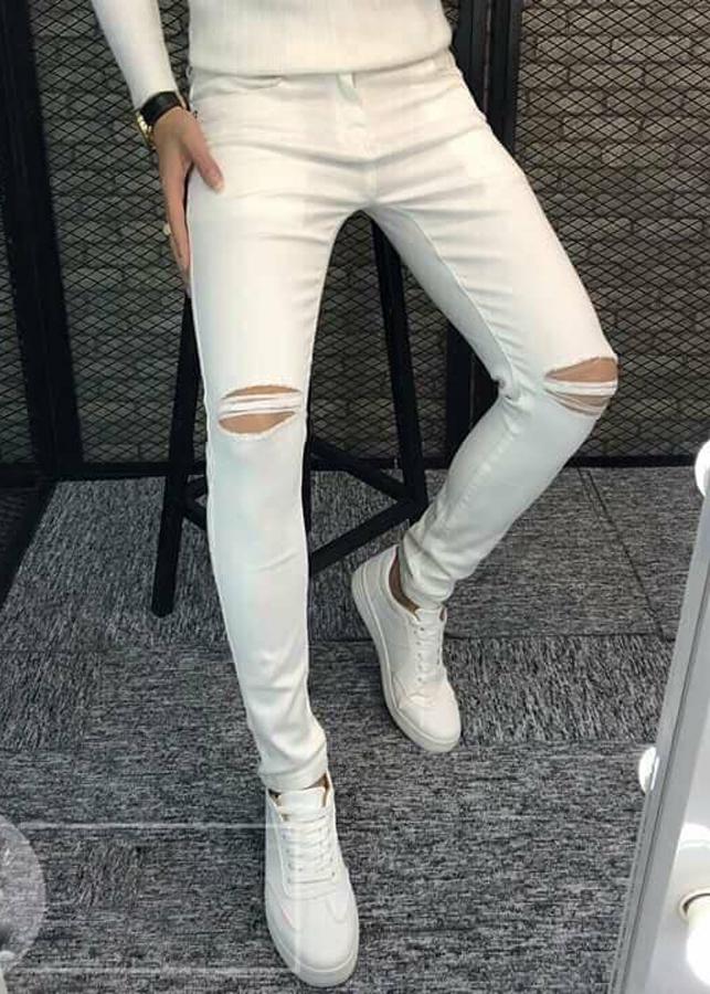 Quần Jeans Nam Trắng Rách Gối TRANGRACH01