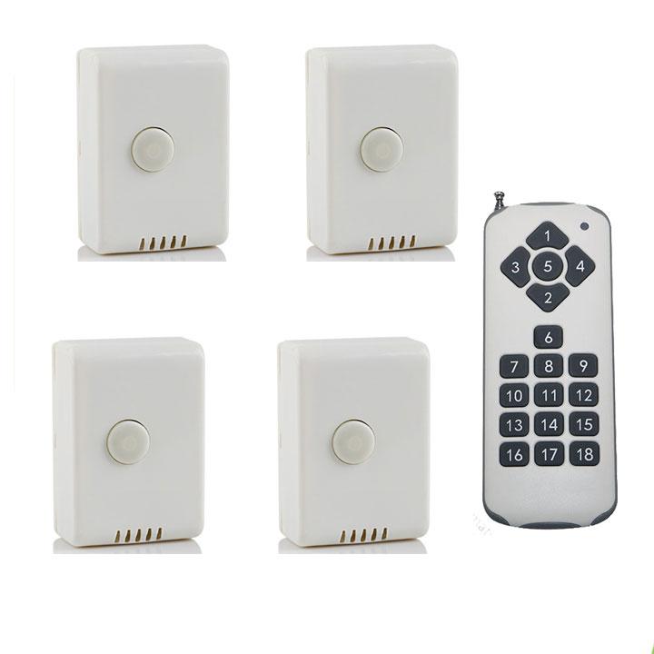 Bộ 4 công tắc điều khiển từ xa sóng RF công suất lớn TPE RC1A + Remote 18 nút R3.4