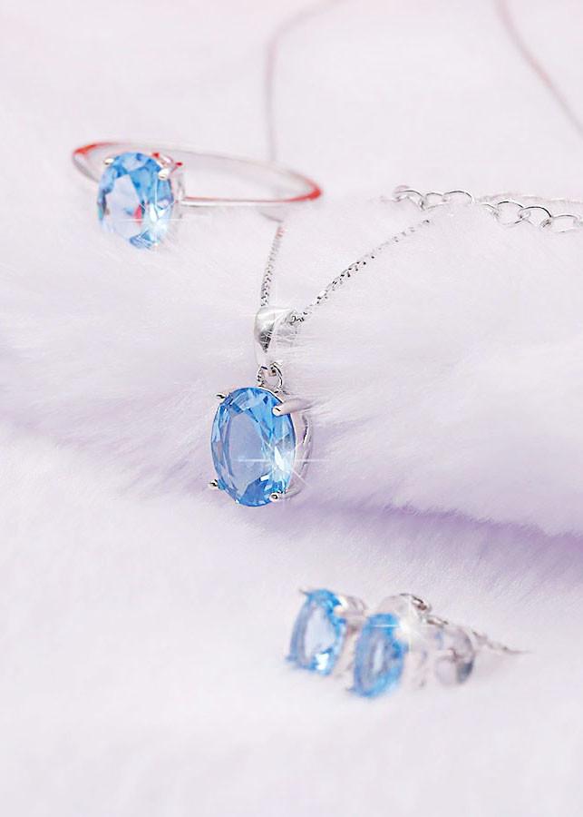 Bộ Trang Sức Bạc S925 Đá Topaz Xanh BNT-604 Bảo Ngọc Jewelry ( Freesize )