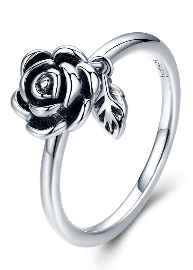 Nhẫn Bạc Nữ Mirason Silver  Gems 925 Hoa Hồng Và Lá