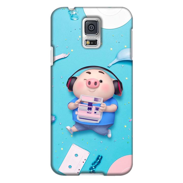 Ốp lưng nhựa cứng nhám dành cho Samsung Galaxy S5 in hình Heo Con Nghe Nhạc