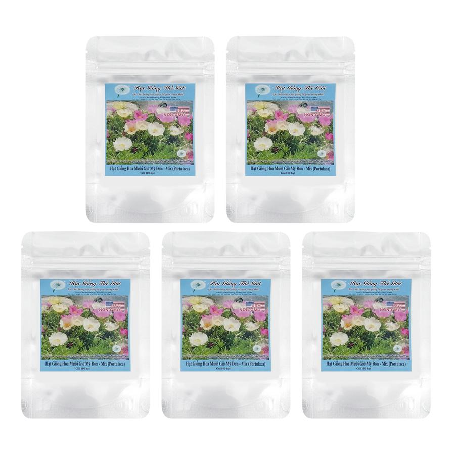 Bộ 5 túi Giống Hoa Mười Giờ Mỹ Đơn - Mix (100 hạt / túi)