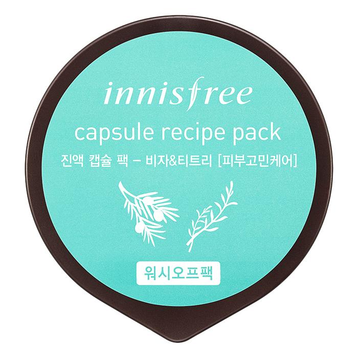Mặt Nạ Rửa Làm Dịu Da Dành Cho Da Mụn Từ Bija  Cây Trà Innisfree Capsule Recipe Pack - Bija  Tea Tree (10ml)