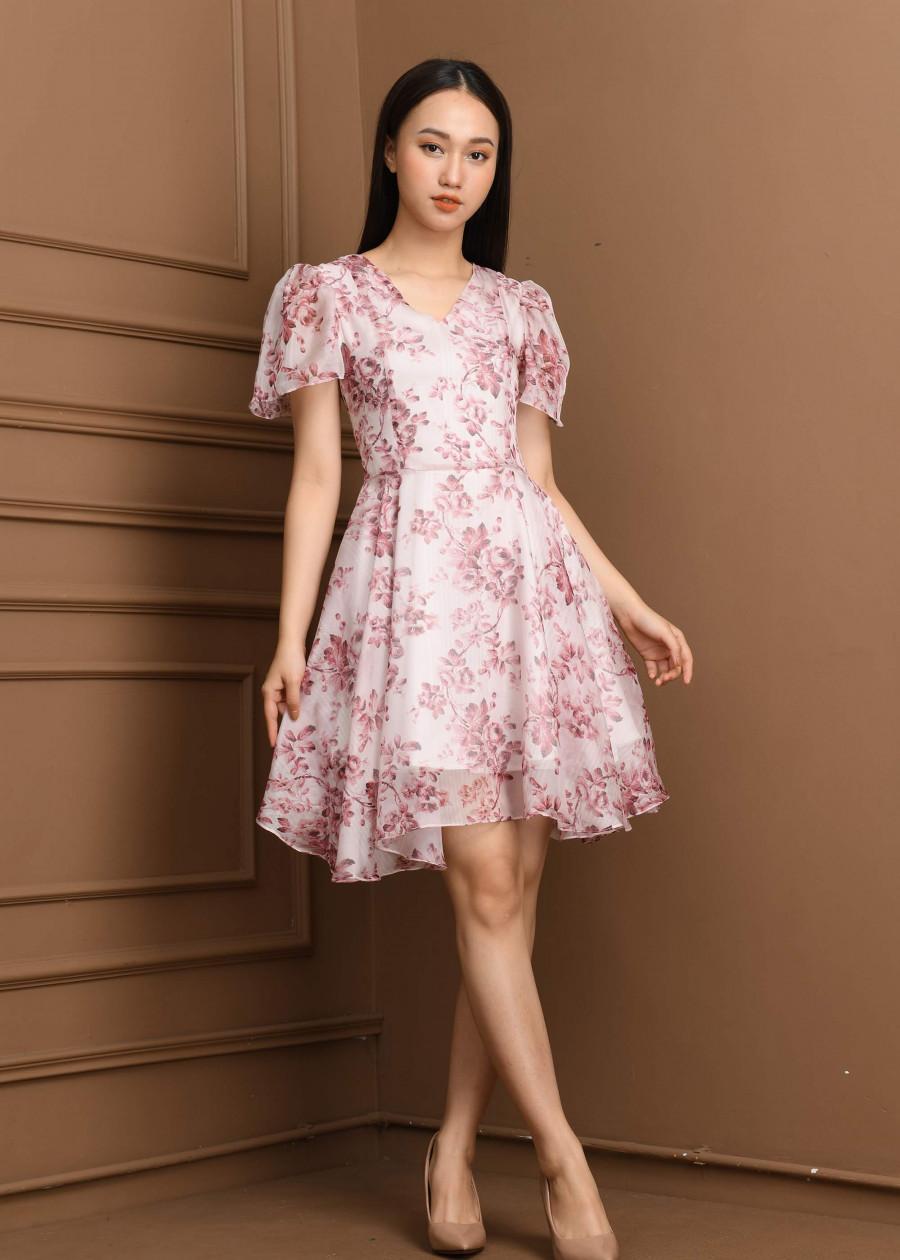 Váy voan tơ hoa thưa nhí   VF2019012