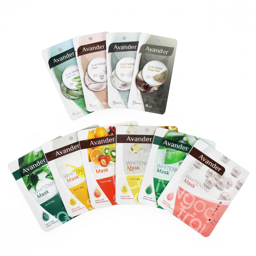 Combo 10 gói mặt nạ Avander : Măt nạ giấy(MNG) trái cây +MNG trà xanh + MNG Ngoc trai +MNG nha đam + MNG Ốc sên+MNG Collagen...