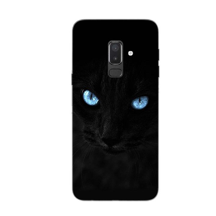 Ốp Lưng Dẻo Cho Điện thoại Samsung Galaxy J8 - Hắc Miêu