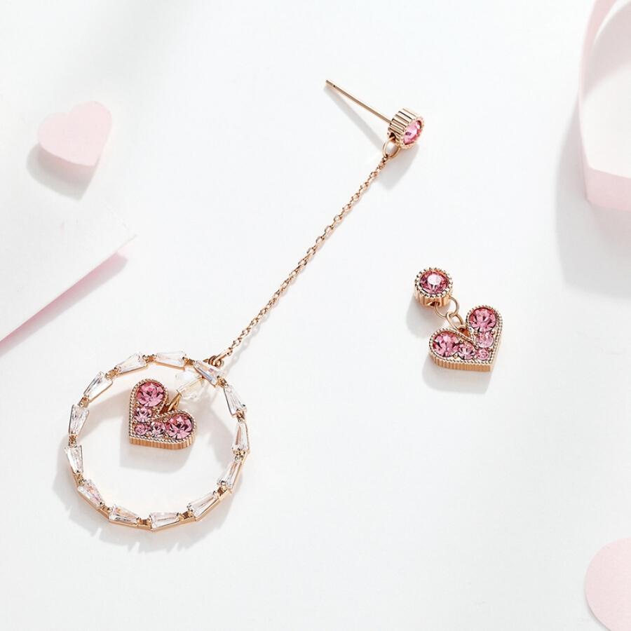 Static style S925 silver pin earrings asymmetrical love earrings artificial zircon ear clip long temperament personality earrings gift to send...