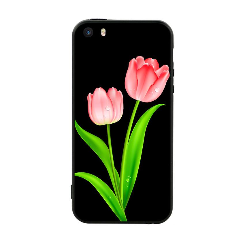 Ốp lưng viền TPU cho điện thoại Iphone 5 - Tulip 01