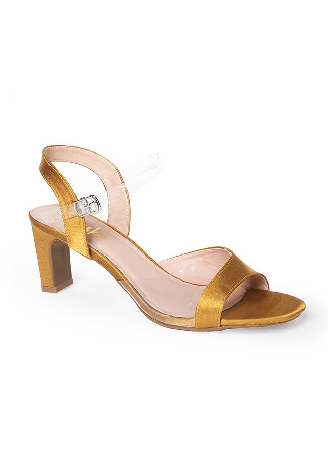 Giày Sandal Cao Gót Quai Trong Phối Màu Erosska EM013 - Màu Vàng
