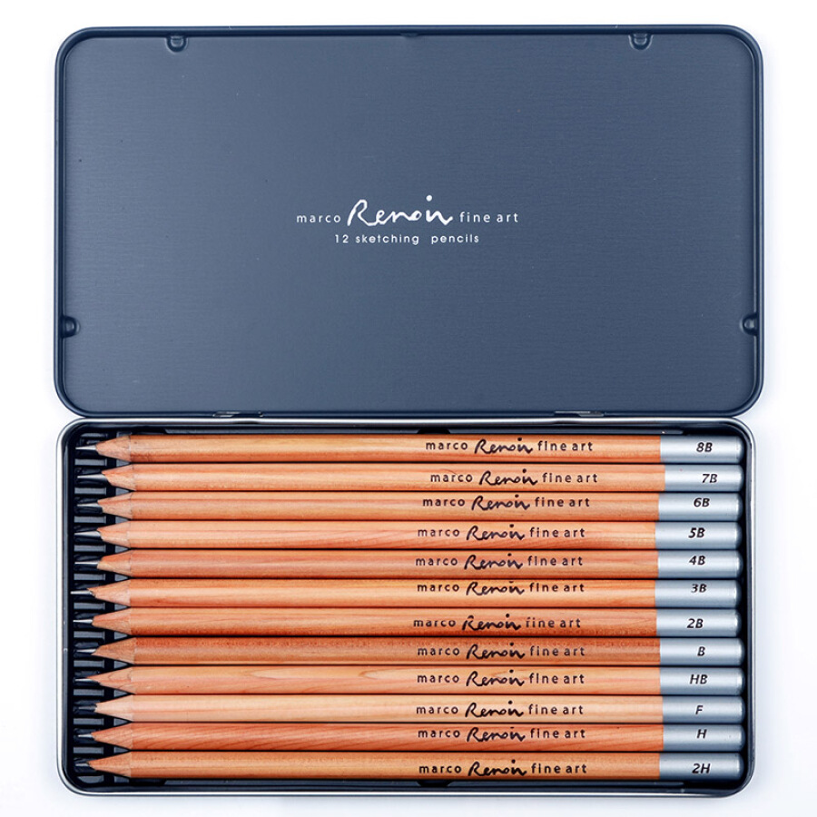 Marco 3000-12TN Renoir Series Graphite Pencils, 12-Piece Set