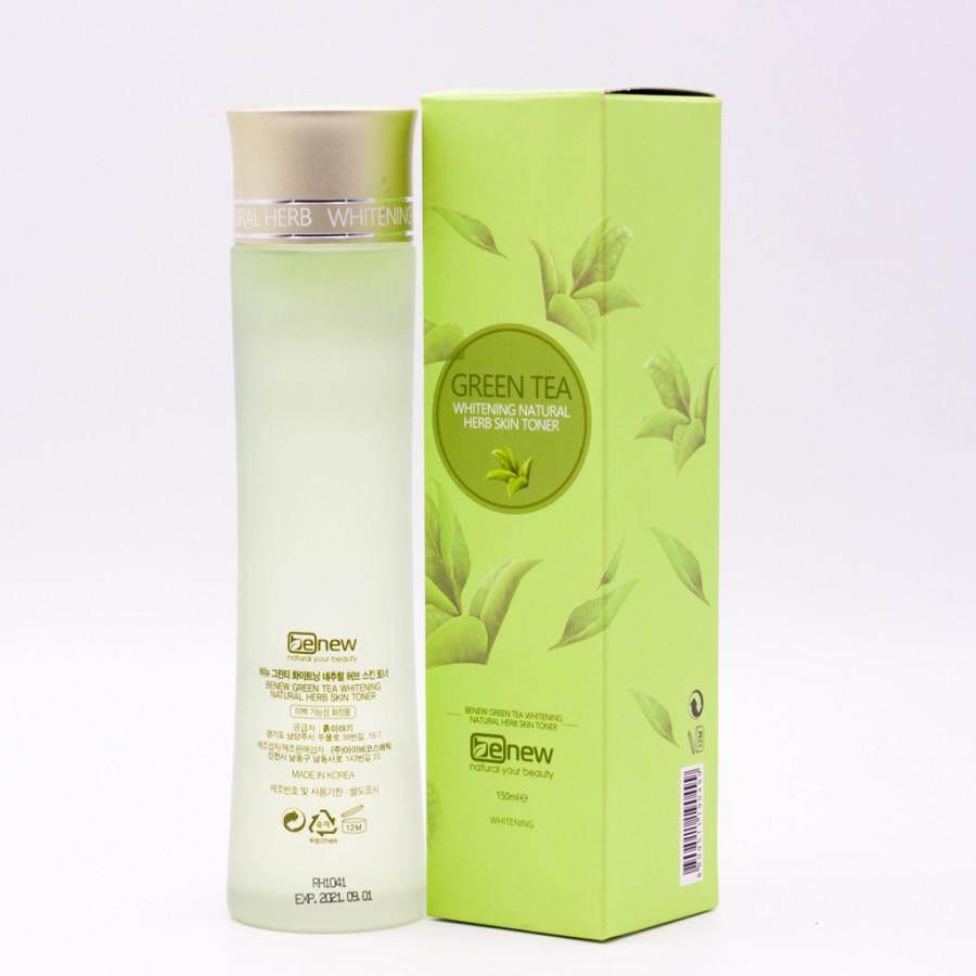 Nước hoa hồng cho làn da nhạy cảm cao cấp Hàn Quốc Benew Green Tea Whitening Natural Herb Skin Toner (150ml) – Hàng Chính...