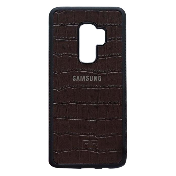 Ốp Lưng Da Bò Vân Cá Sấu Độc Lạ Samsung S9 Plus Goldblack + Tặng Móc Khóa - Nâu Đen