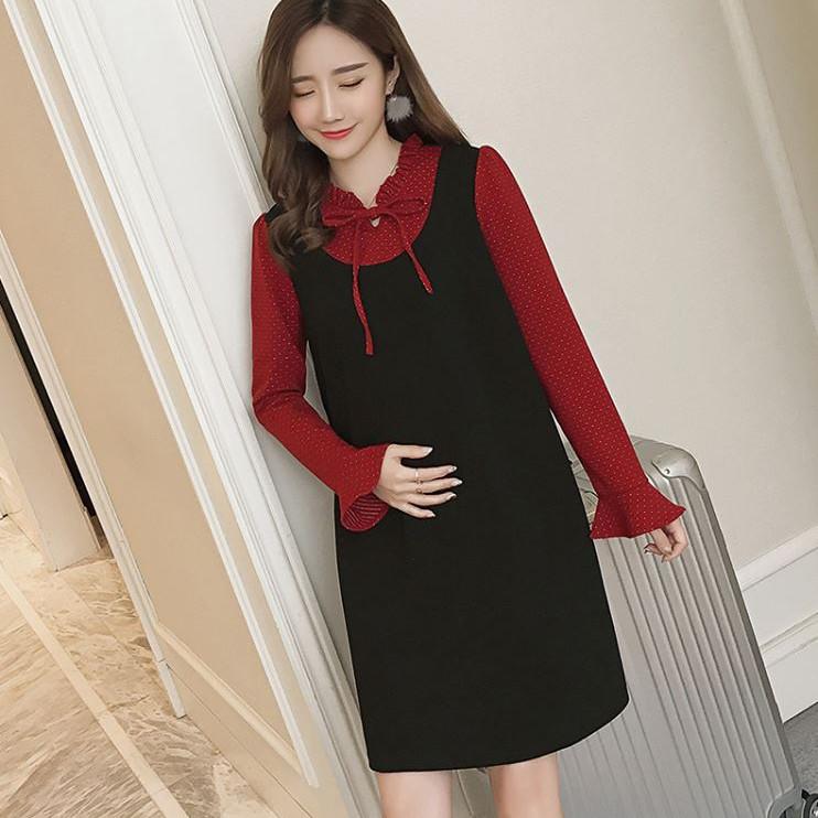 Váy Bầu Đen Phối Cổ Chấm Bi Đỏ MYC 1086
