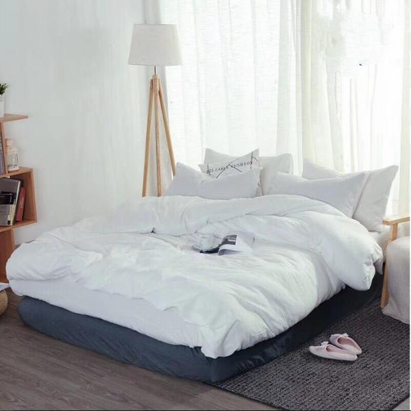 Bộ Chăn Ga Gối Cotton Đũi Model 2019 Muji CD1901 - Trắng