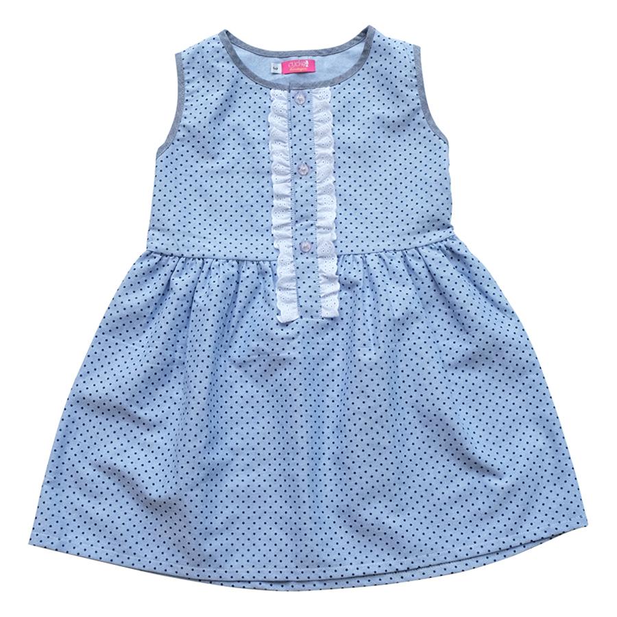 Đầm Xanh Bi Nhạt Xẻ Trụ CucKeo Kids - T111820