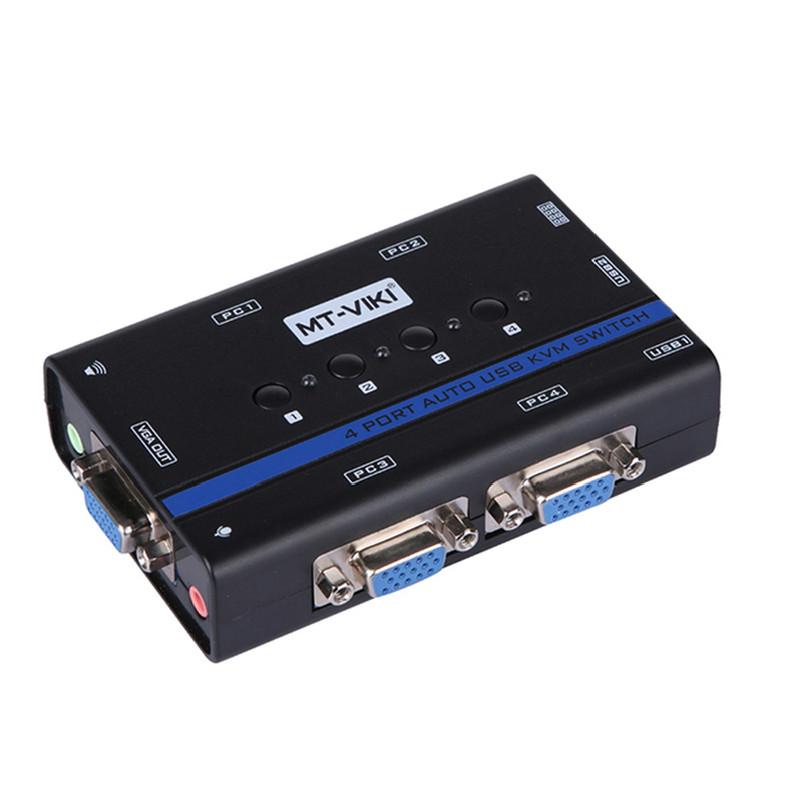 KVM Switch 4Port Auto USB+Audio+VGA . Chuyển mạch tự động 4 CPU ra 1 màn hình MT-461KL - Hàng Chính Hãng