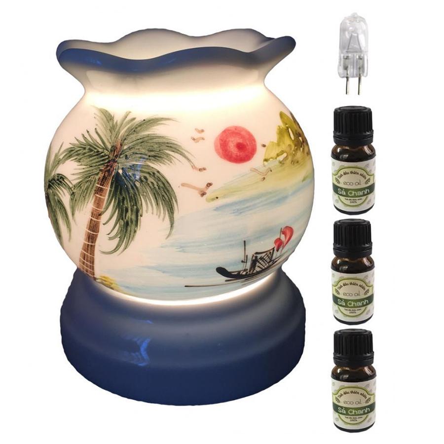 Đèn xông tinh dầu MNB19 và 3 tinh dầu sả chanh Eco 10ml và 1 bóng đèn