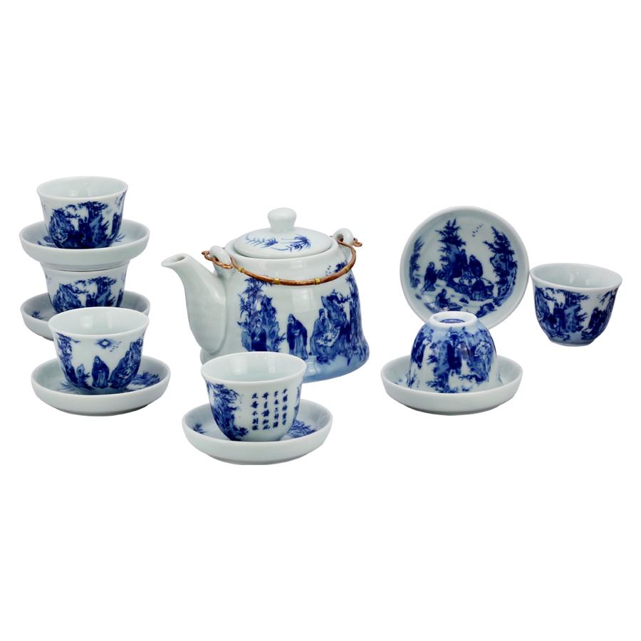Bộ ấm chén men lam số 2 cỡ nhỏ chính hãng gốm sứ Bát Tràng - bộ bình uống trà cao cấp