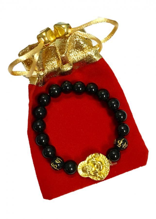 Vòng tay đá thạch anh đen gắn thần tài mạ vàng tài lộc TAD01 (cỡ hạt 10li, có kèm túi nhung cao cấp)