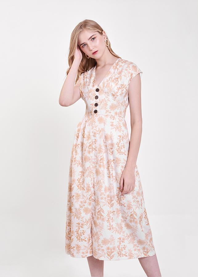 Đầm Nữ Dài In Hoạ Tiết Tay Con Đính Nút Marc Fashion VH113418