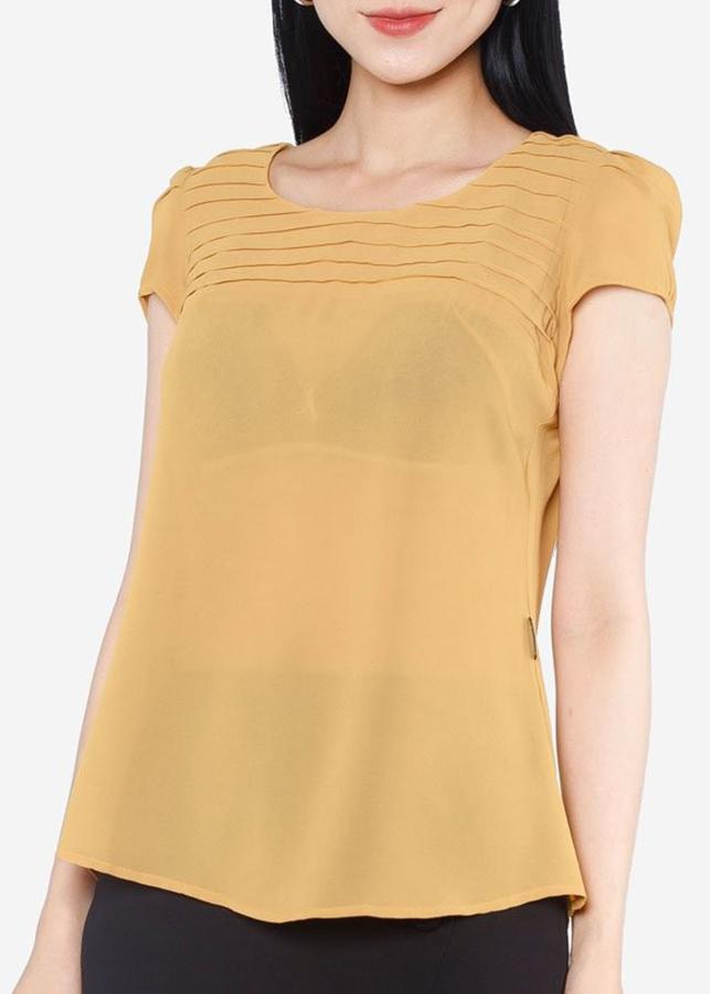 Áo Kiểu Nữ AGB0653 Cổ Tròn - Vàng