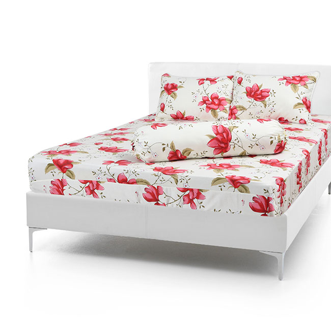 Bộ Drap Cotton Vải Thắng Lợi Áo Gối Chần GòN 1,8x 2m hoa lan đỏ