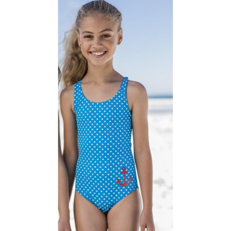 Bikini bé gái hai mảnh xanh dương chấm bi