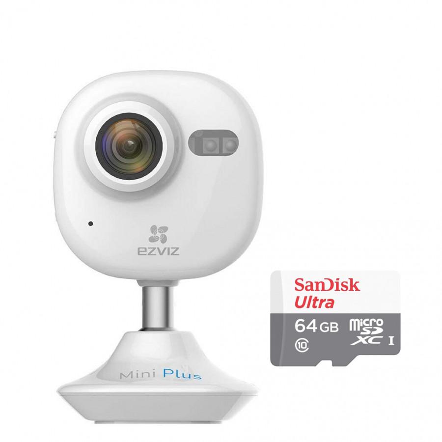 Camera IP Wifi Không Dây Ezviz Mini Plus 1080P (CS-CV200-A0-52WFR) Và Thẻ Nhớ 64GB - Tặng tai nghe Bluetooth